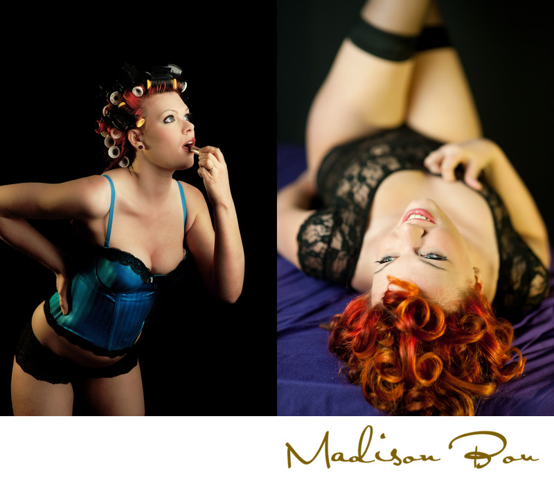 york boudoir photographers - hair curlers