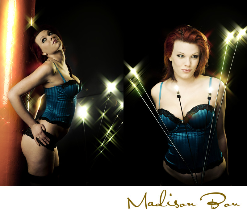 york boudoir photographers - blue corset lights