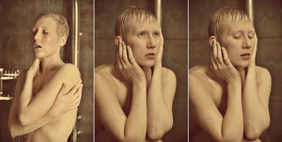 nude shower triptych
