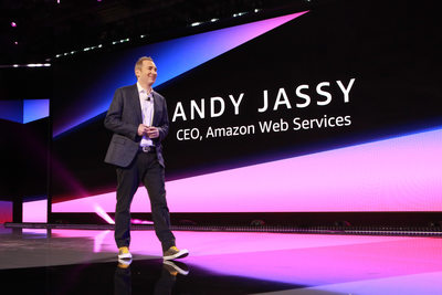 Andy Jassy, CEO of Amazon Web Services walks on stage.