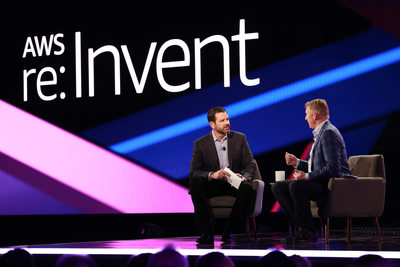 AWS executive interviews major client on stage @ AWS re:Invent 2019