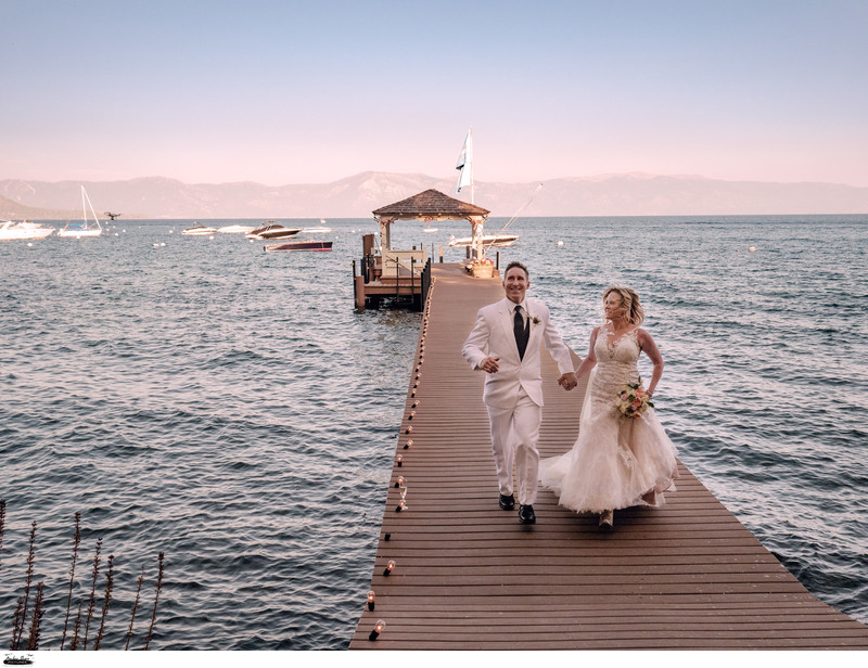 Cameron & Mark's Lake Tahoe Wedding on a Boathouse