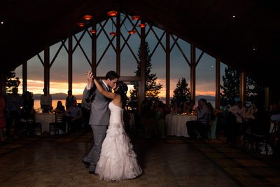 First dance at Edgewood golf course venue sunset