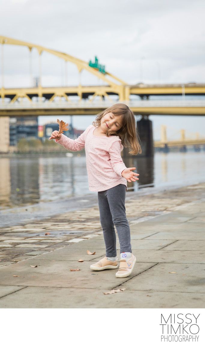 Child Portrait Pittsburgh Bridge Backdrop by Missy Timko