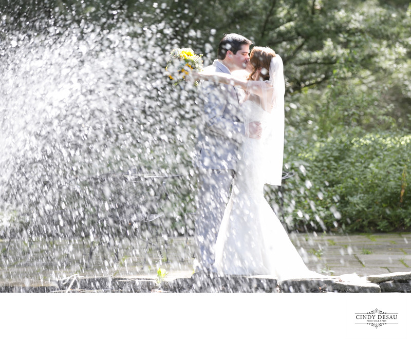 Fountain Sprays the Bride and Groom Photograph