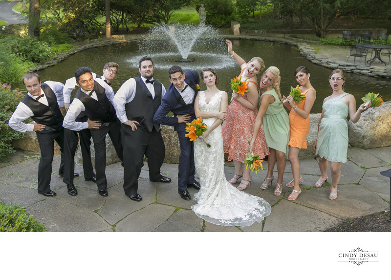 Bridal Party Strikes a Pose Wedding Photographer