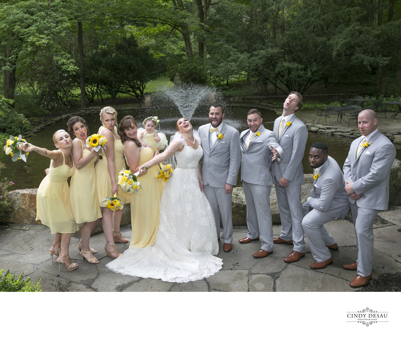 Bridal Party in Yellow Strikes a Pose in New Hope