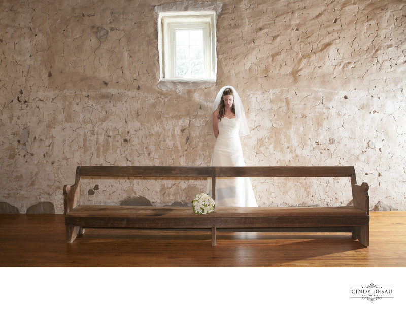 Artistic Bridal Portrait in Audubon Barn