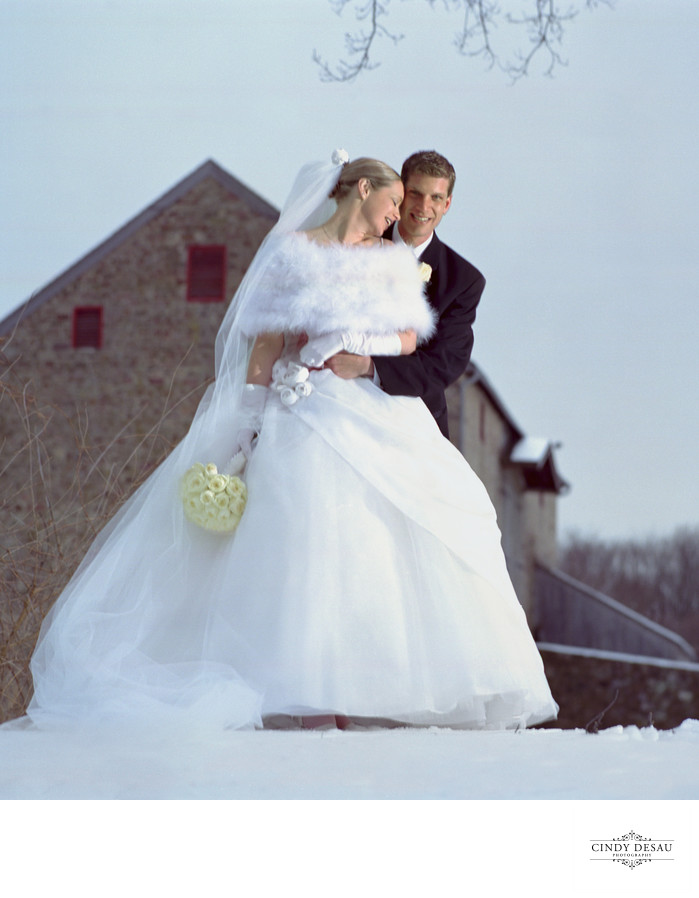Graeme Park Horsham Wedding Couple in the Snow Photo