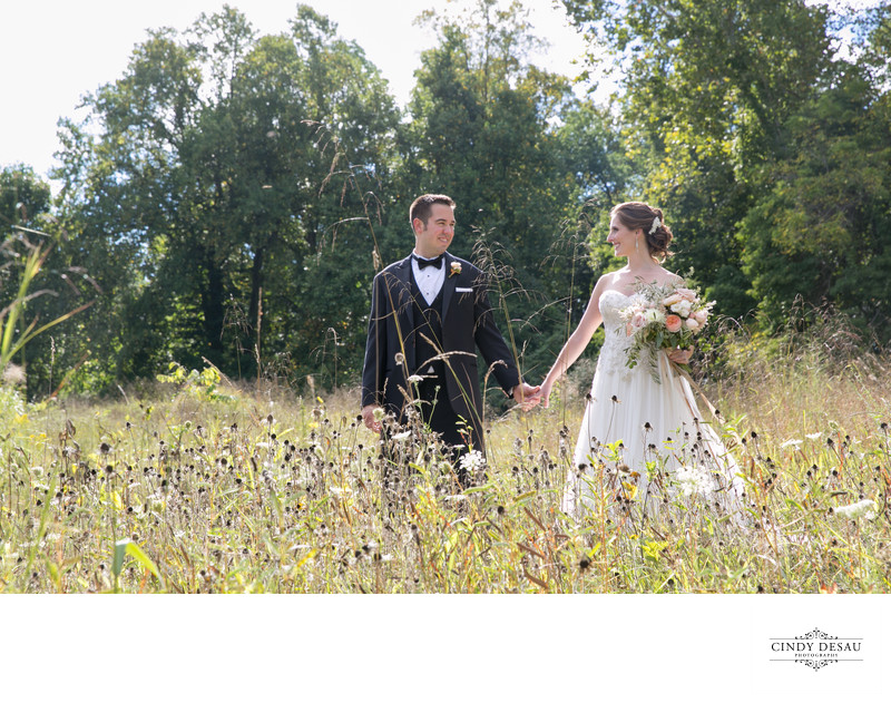 Earthy yet Elegant Groom and Bride in New Hope Field