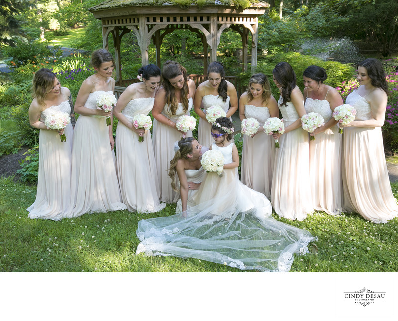 Playful Bridal Party Wedding Photo in Bucks County