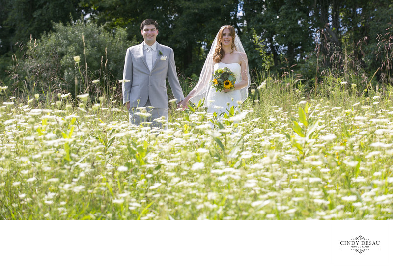 Whimsical Groom and Bride in New Hope Flower Field Photo