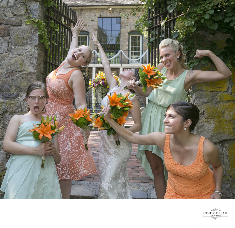 Super Fun Bridesmaids Photo at Holly Hedge Courtyard