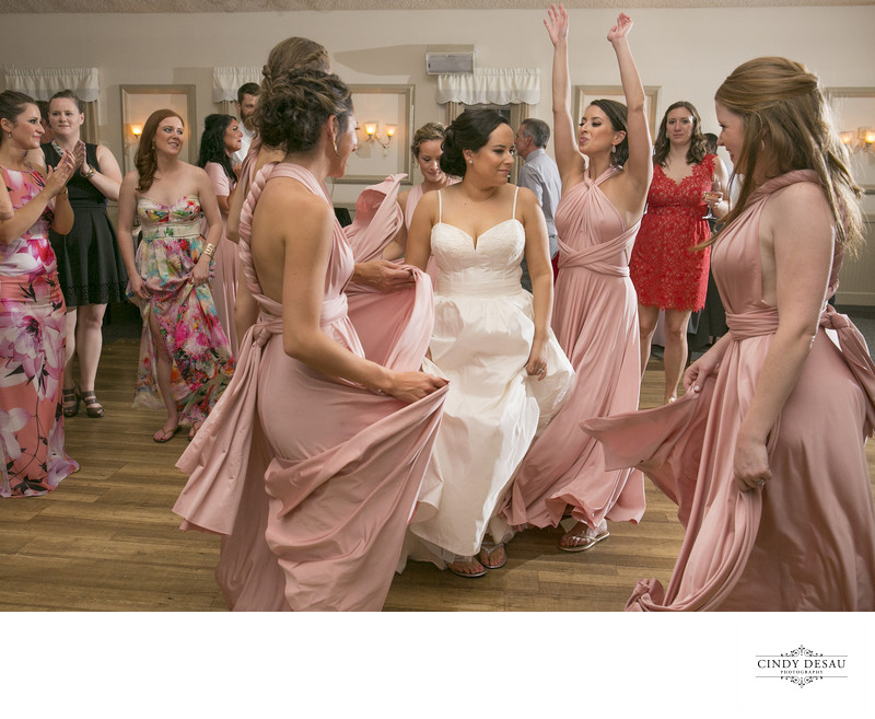 Bridesmaids Dance Around Bride Candid Reception Coverage
