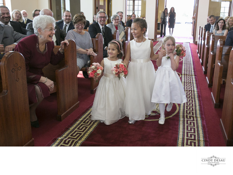 Overjoyed Guest and Flower Girls at Greek Orthodox Wedding