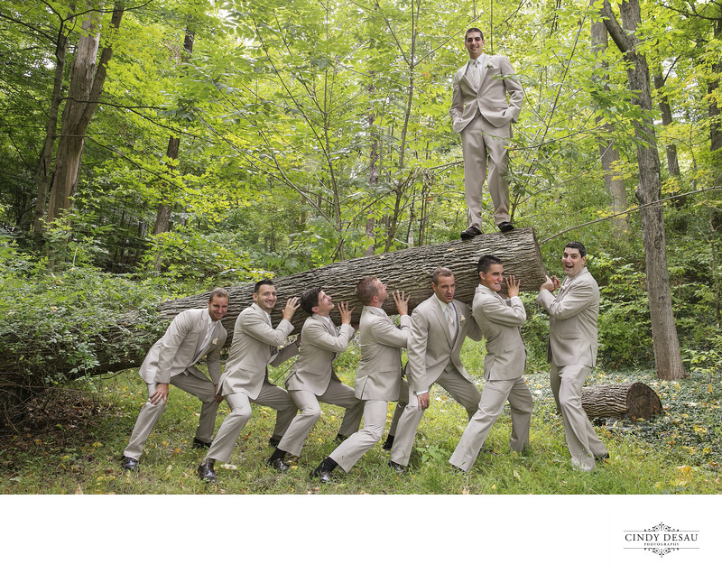 Wackiest Wedding Photo of Groomsmen in New Hope