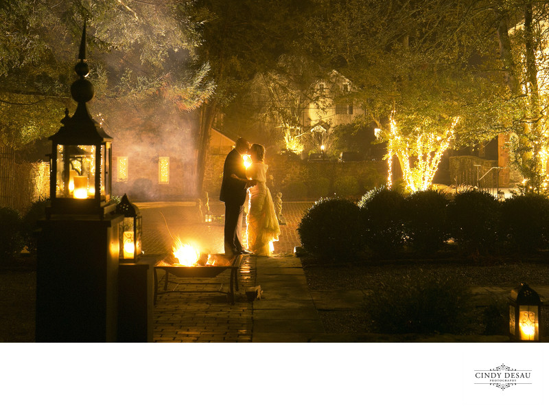 The Fires are Burning in Bucks County Wedding Photo