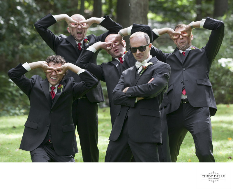 Wacky Fun-loving Groomsmen Create Sunglasses Wedding Photo
