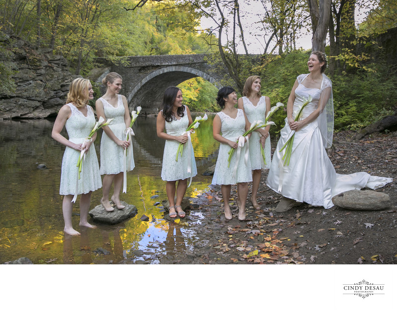 Fairmount Park Bridal Party Laugh in the Mud