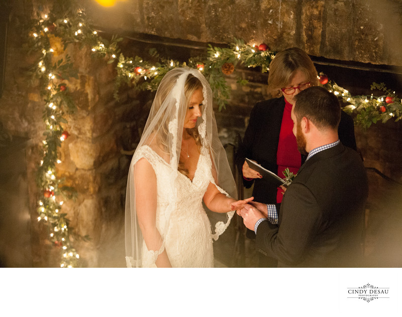 Candlelight Ring Exchange at Holly Hedge Photographer