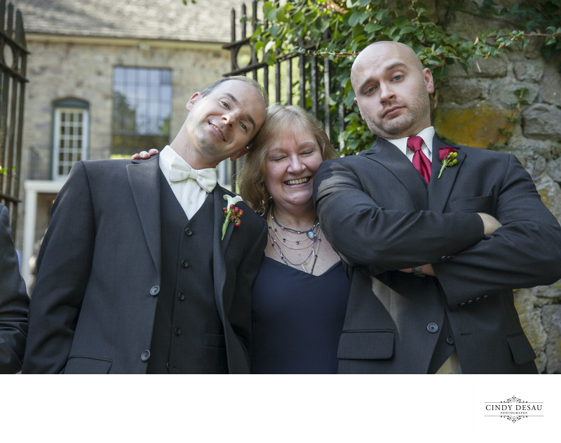 Fun Photo of Groom with Mom and Brother Wedding Photos
