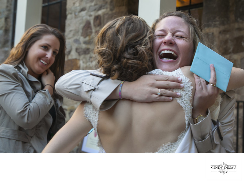 Exhilarated Wedding Guest Greets Bride in New Hope