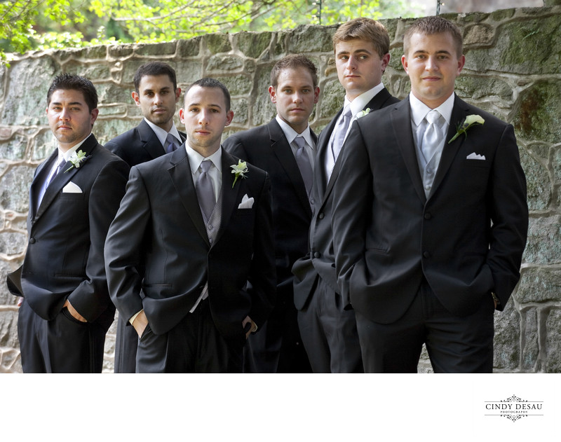 Cool Composition Of Groom And Groomsmen At Holly Hedge
