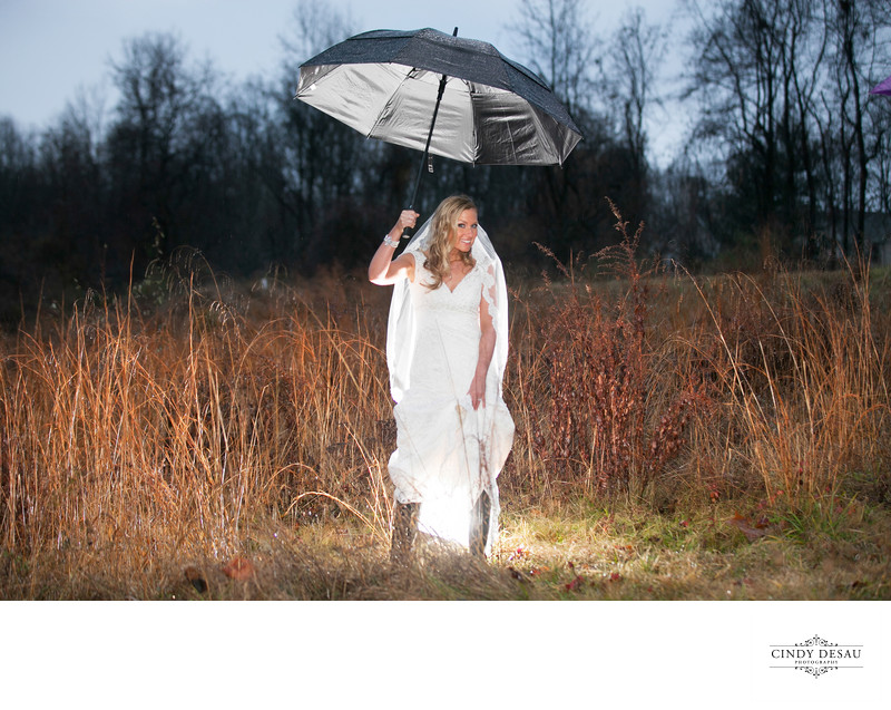 Happy Bride on her Rainy Wedding Day!