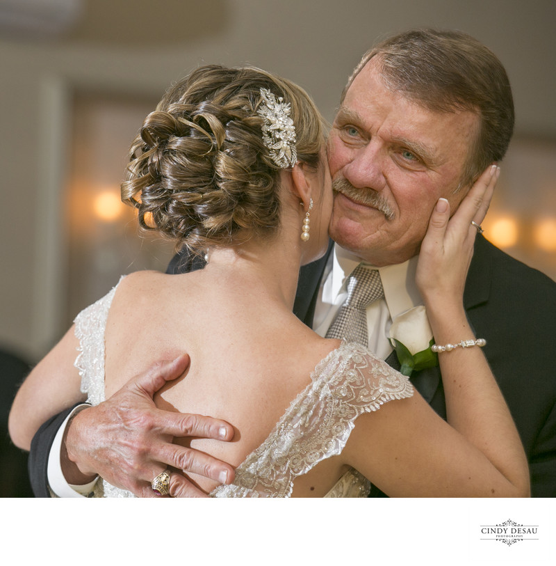 Dad Crying Dancing with His Daughter Wedding Photograph