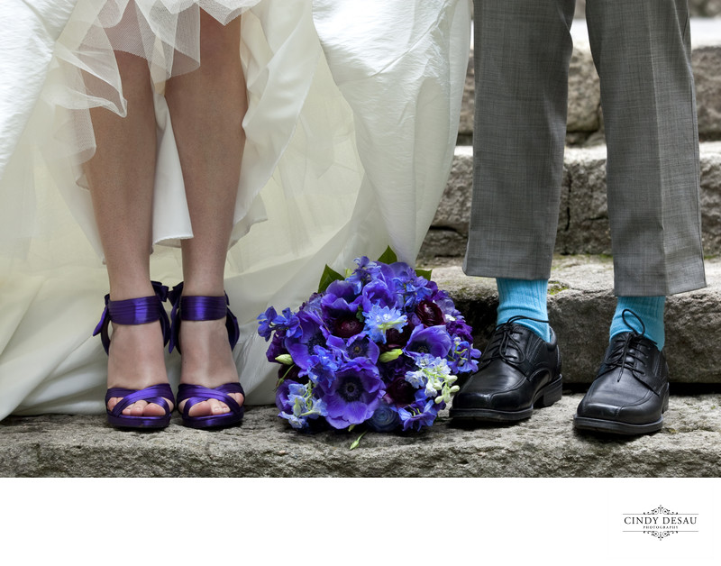 Funky Shoes of Bride and Groom Wedding Photo