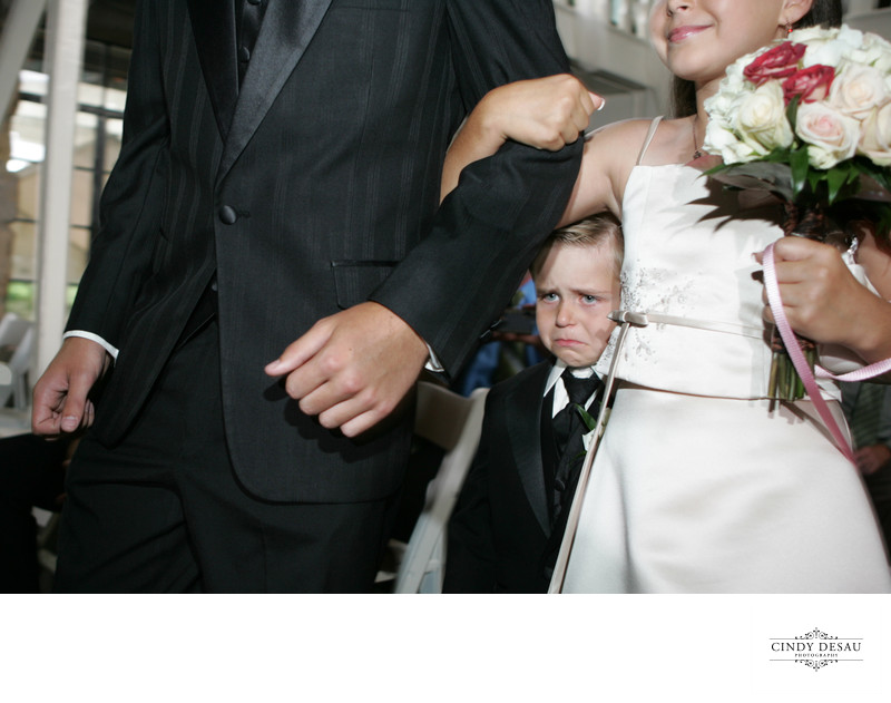 Unhappy Ring Bearer at New Hope Wedding
