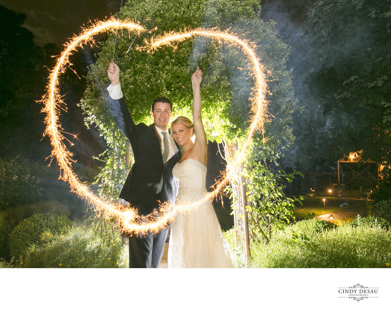 Perfect Heart Wedding Sparklers Photo at Crossing Vineyards