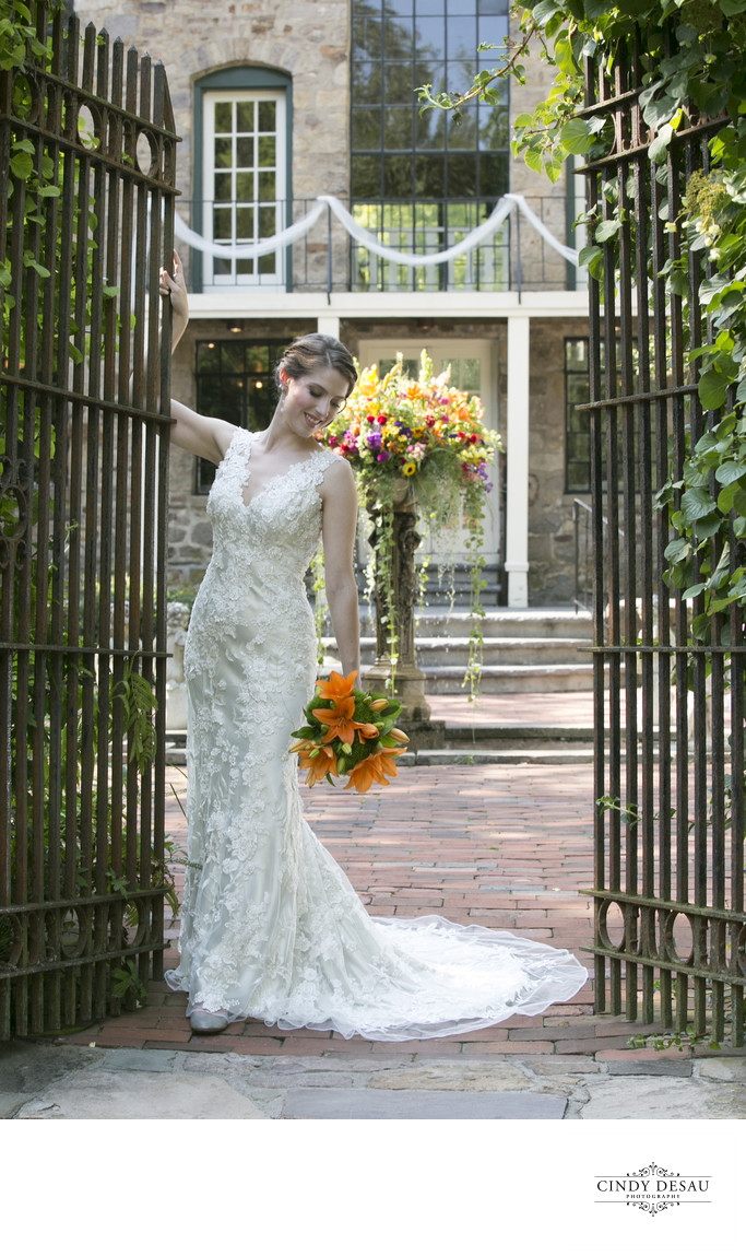 Bride at the Courtyard Gates of Holly Hedge