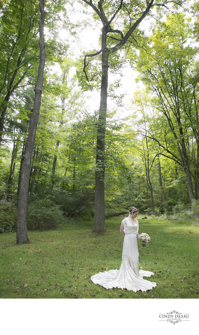 Bride's Quiet Moment in New Hope Meadow Wedding Photo