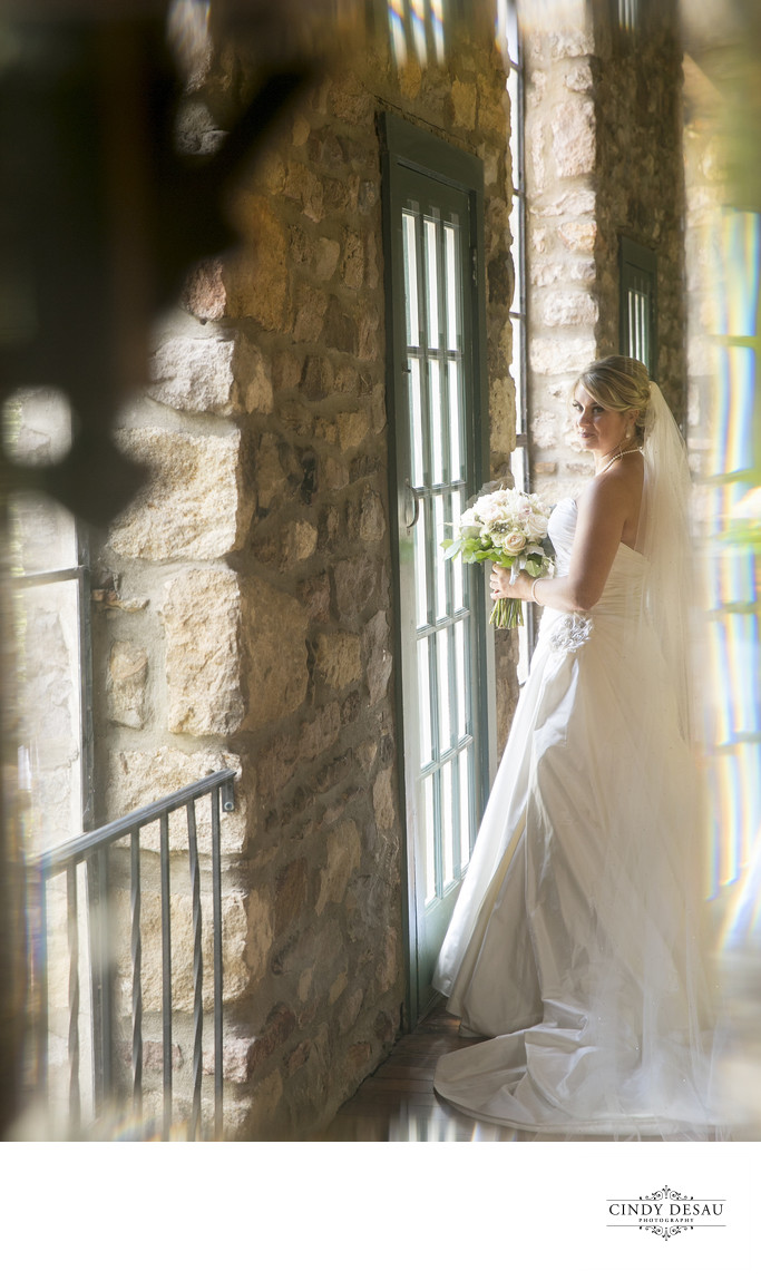 Reflection of Bride in New Hope Barn