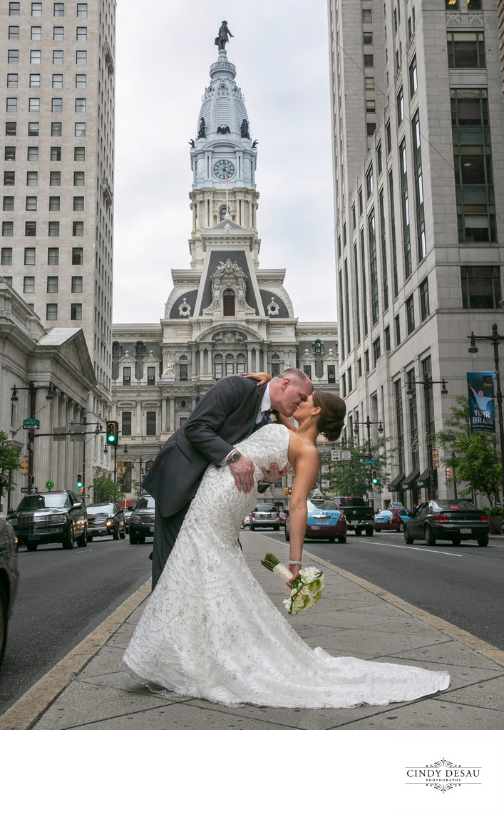 Bride and Groom on Broad Street: Philadelphia City Hall