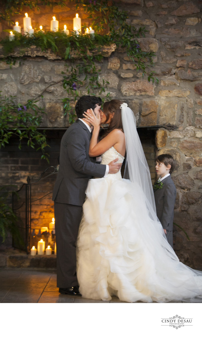 Ring Bearer Watches First Wedded Kiss Photograph