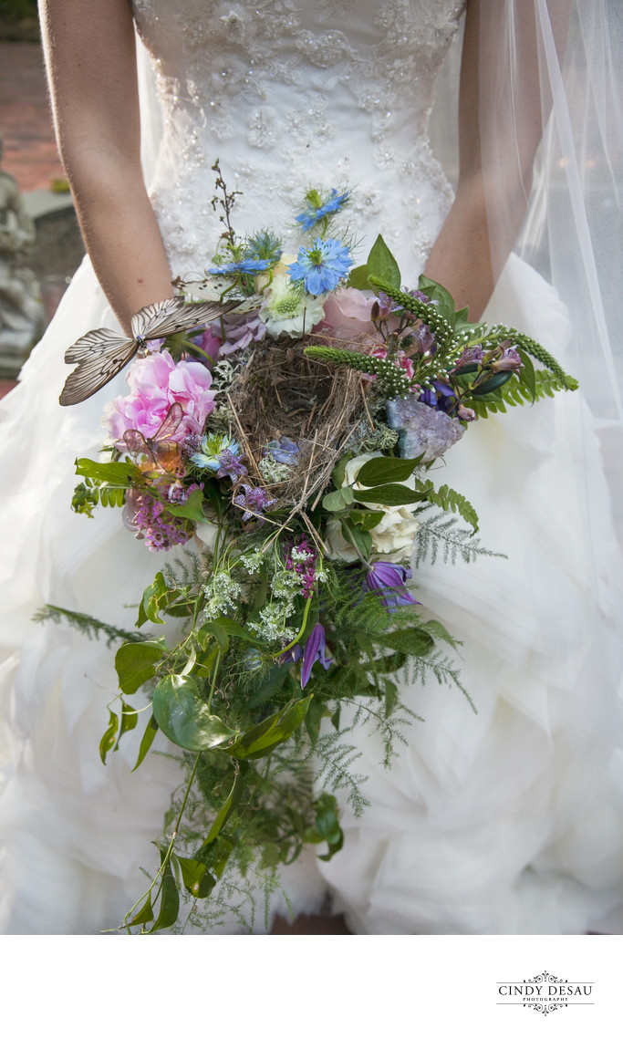Unique Bridal Bouquet with Bird's Nest Photograph
