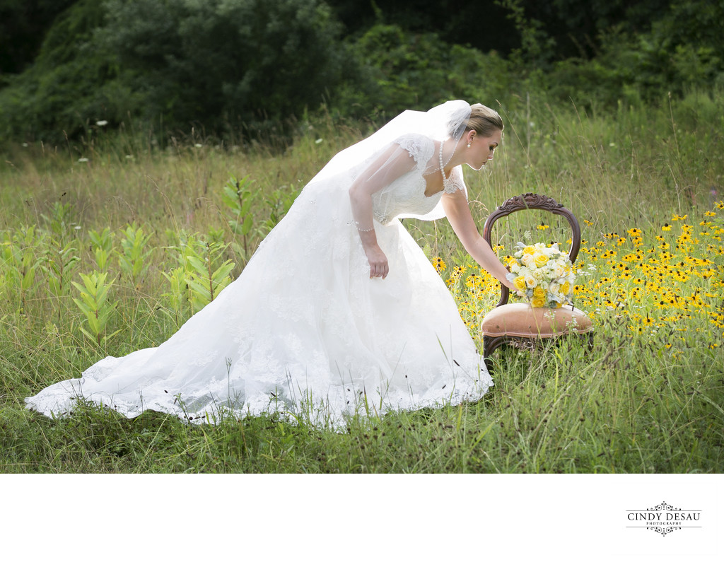 Vintage Bride and Antique Chair in New Hope Field