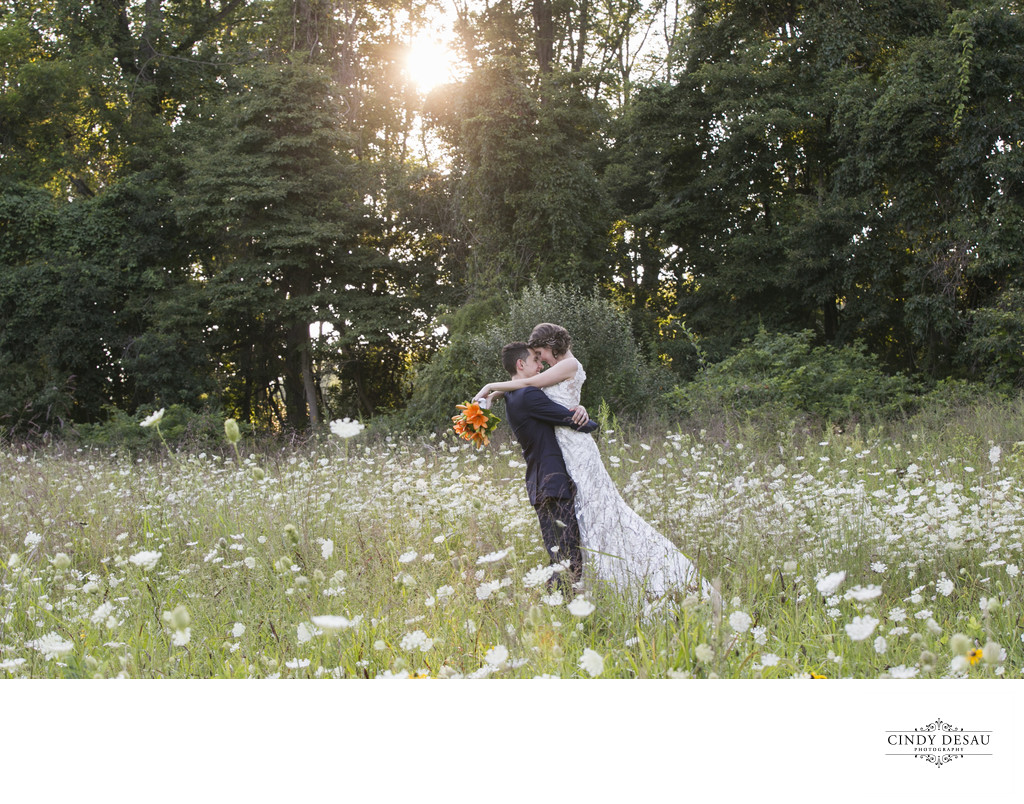 Holly Hedge Field of Queen Anne's Lace Wedding Kiss Photo