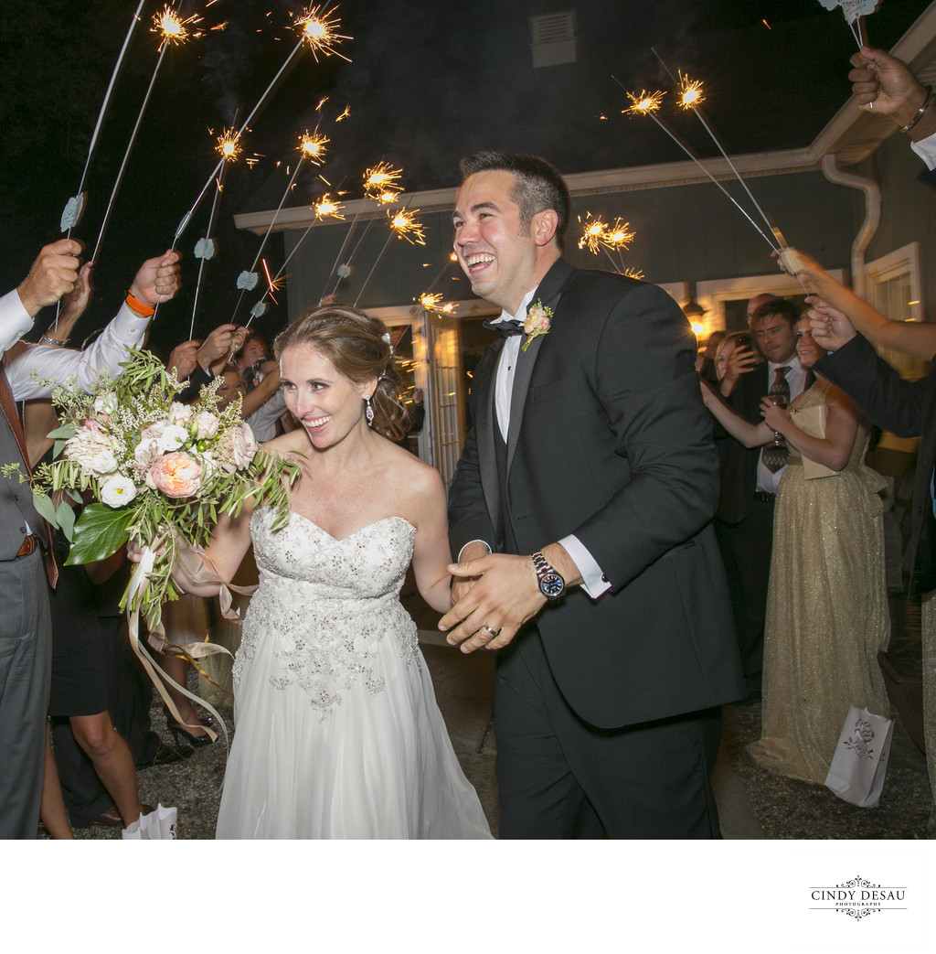 Sparkler Exit for Elated Bride and Groom in New Hope Pic