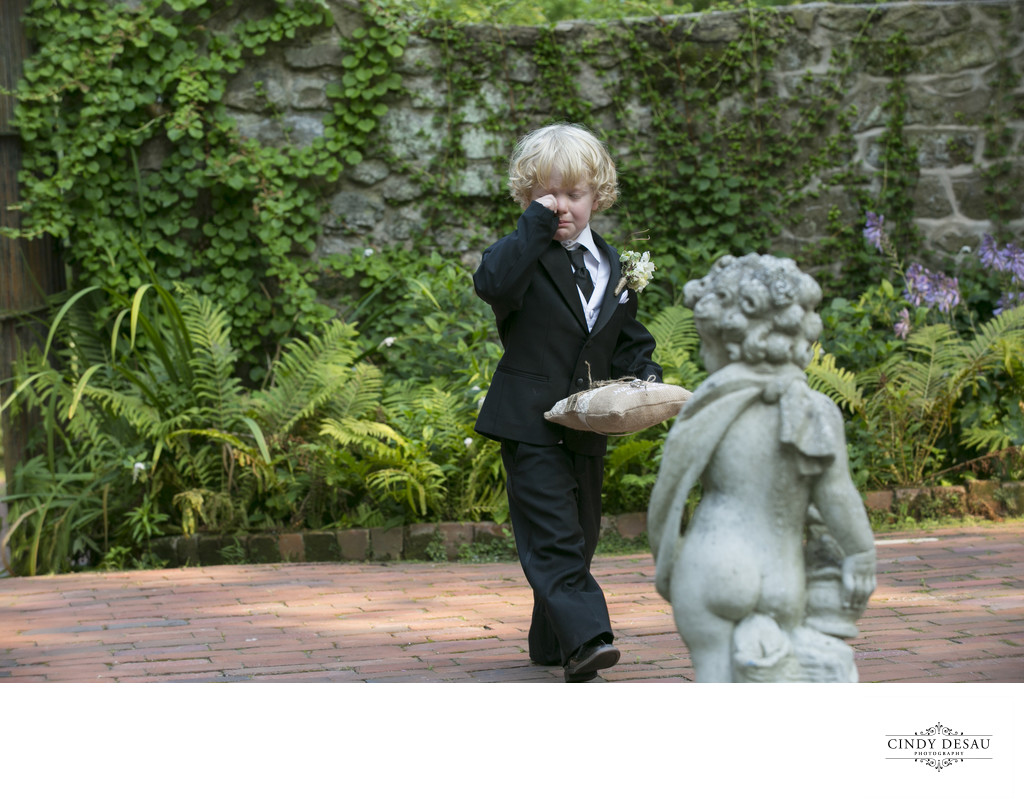 Shy Ring Bearer During Wedding Processional
