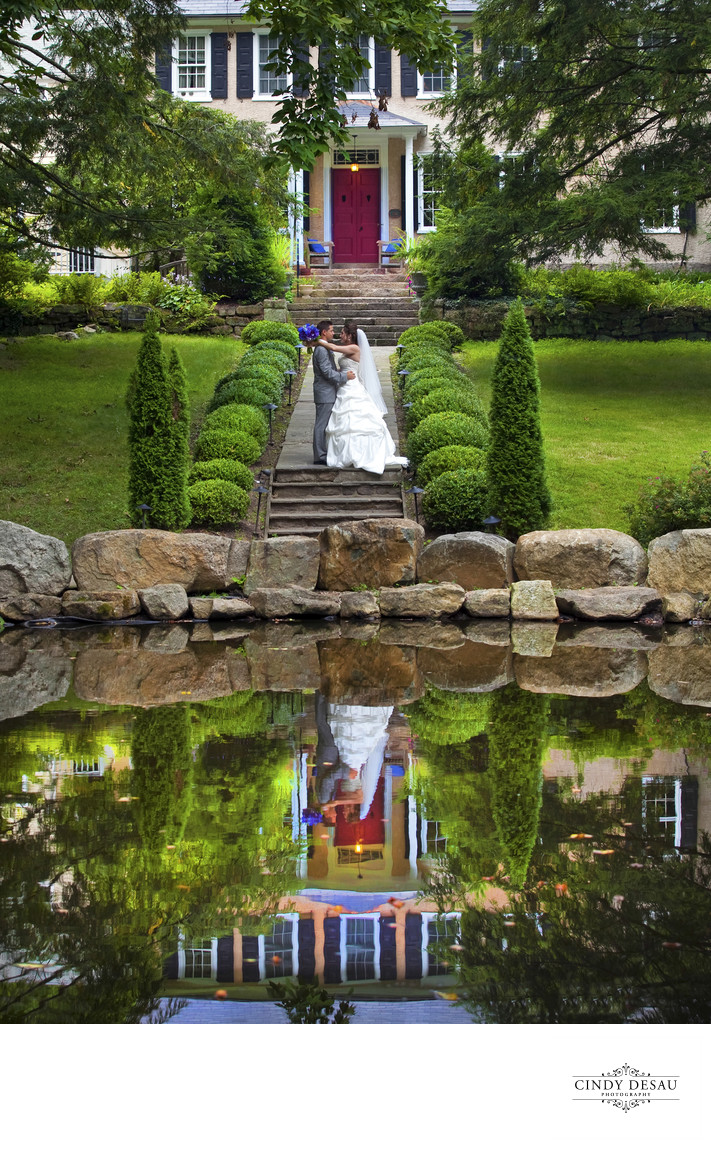 Holly Hedge-pond-reflection-bride-groom-colorful