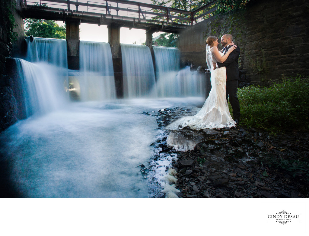 Bride and Groom in Cascading Water