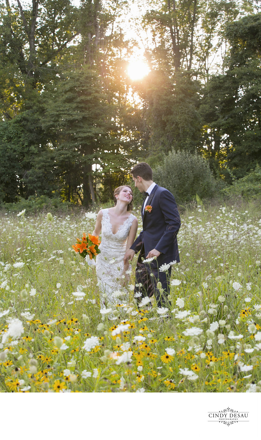 Sunset in New Hope Field Wedding Photograph
