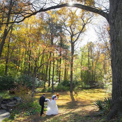 A Scenic Walk in Bucks County on Their Wedding Day Photo