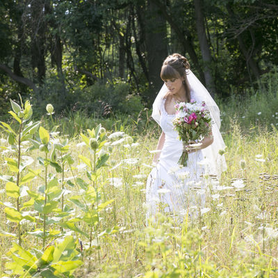 Bride Picks Wildflowers in New Hope Photographs