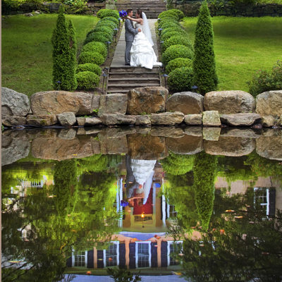 Colorful Reflection of Bride and Groom in Bucks County
