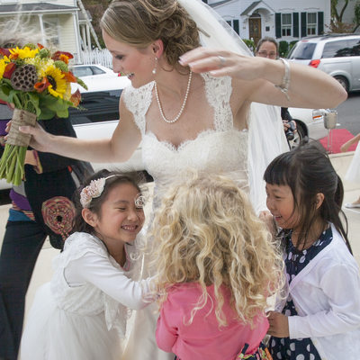 Teacher Bride Greeted by her Students in Cranbury, New Jersey