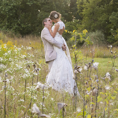 Wedding Kiss in a Field in New Hope